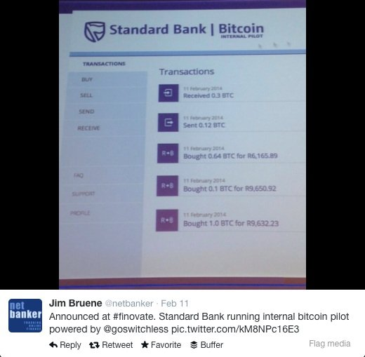 Standard Bank internal Bitcoin pilot with Switchless Finovate Europe 2014
