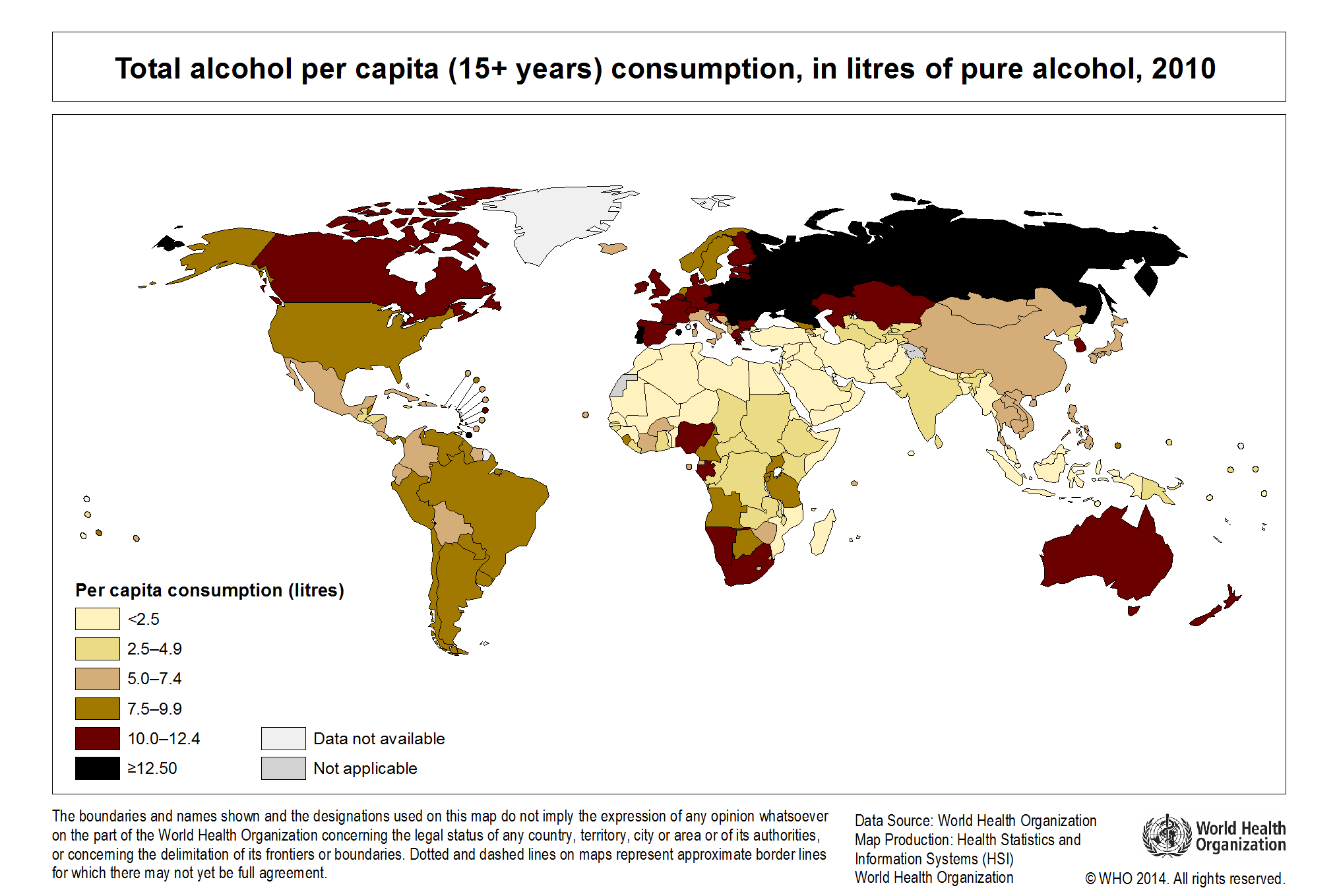 Global alcohol consumption 2010