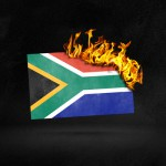 Burning South Africa flag