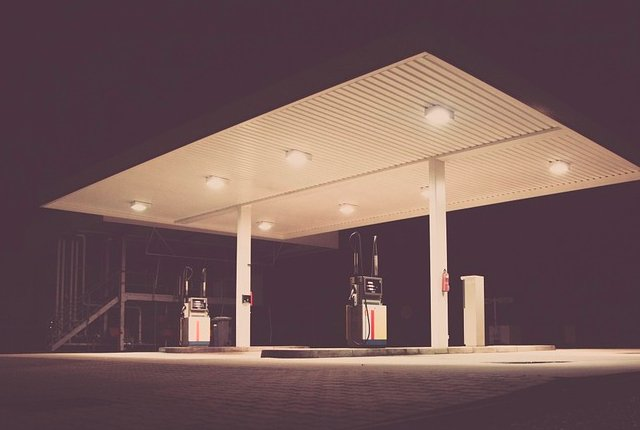 Empty petrol fuel station pumps